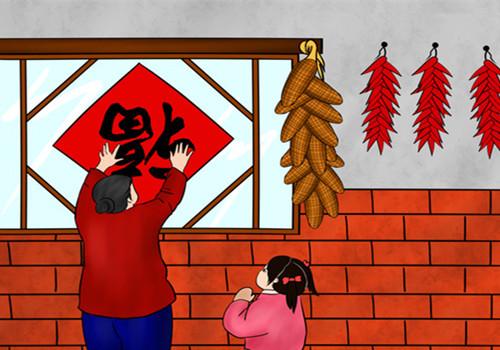 春节习俗手绘门