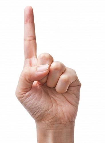 方法:左手自然伸平,右手大拇指顺手掌方向放在左手中指上,其他手指